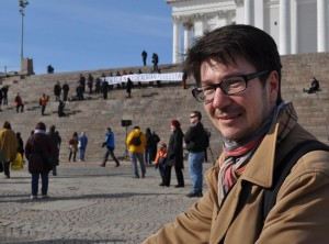 Marko Spyttä, one of teachers showing support for their fired colleague. Photo: Morten Refsgaard