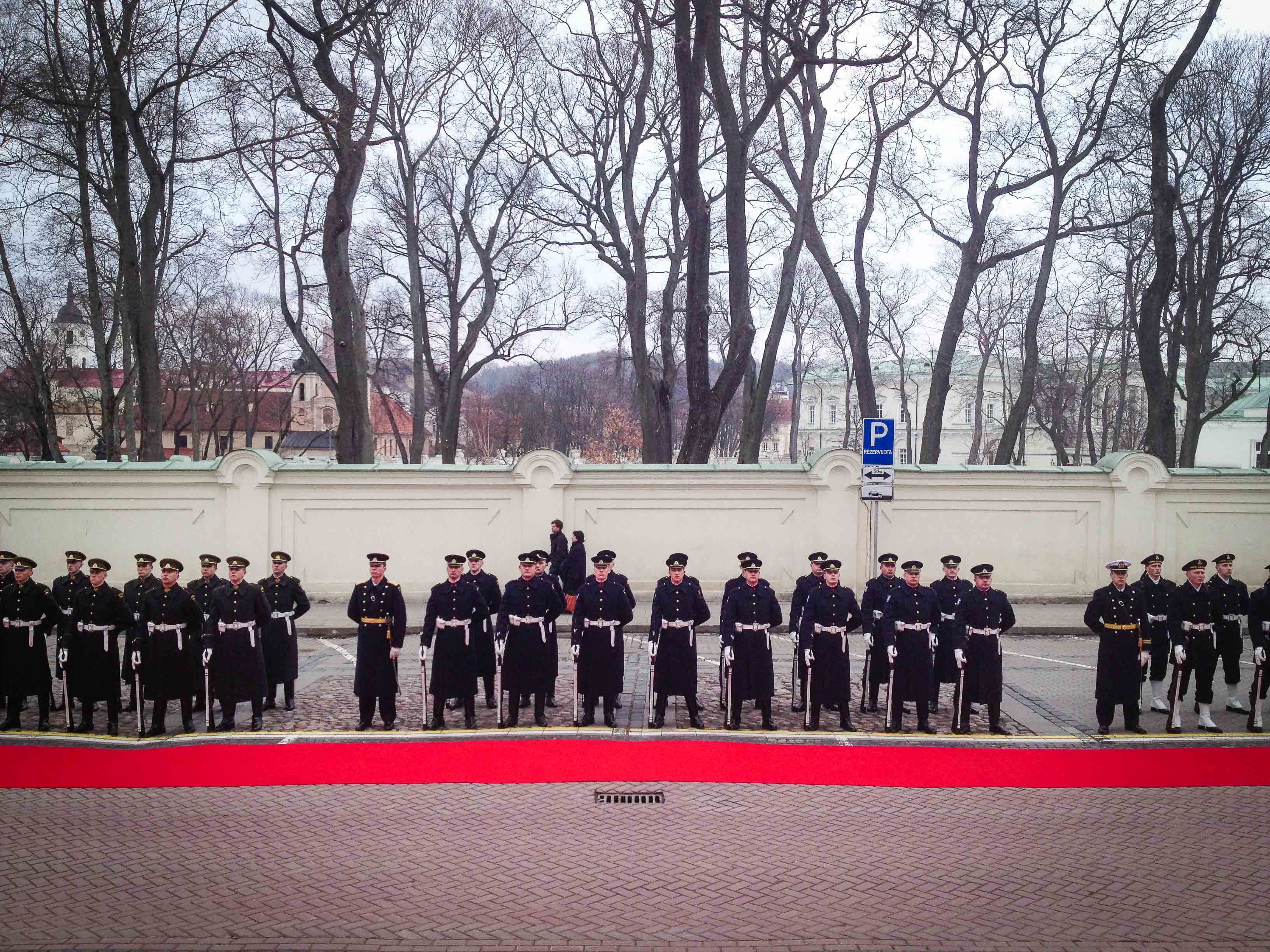 Delegations from all the arms of the Lithuanian Armed Forces. On the left: the infantry; in the middle:  air force; on the right: the navy. © Benoît Theunissen